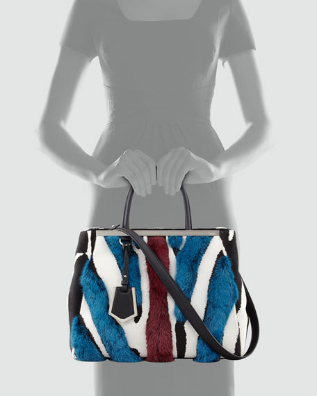 2Jours Medium Zebra-Print Fur Tote Bag, Multicolor