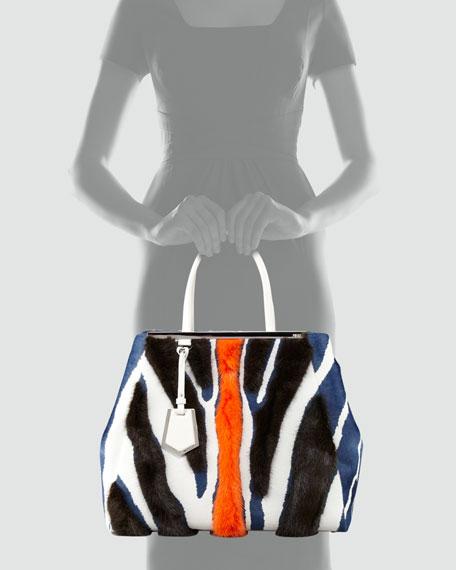 2Jours Zebra-Print Fur Tote Bag, Multicolor