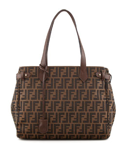 Fendi Zucca Side-Tab Shopping Tote Bag, Brown