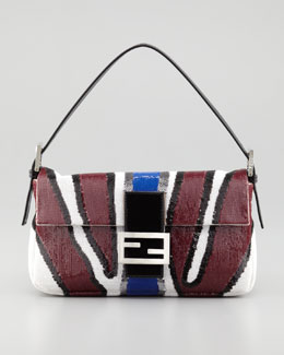 Fendi Zebra-Stripe Sequined Baguette Bag, Wine