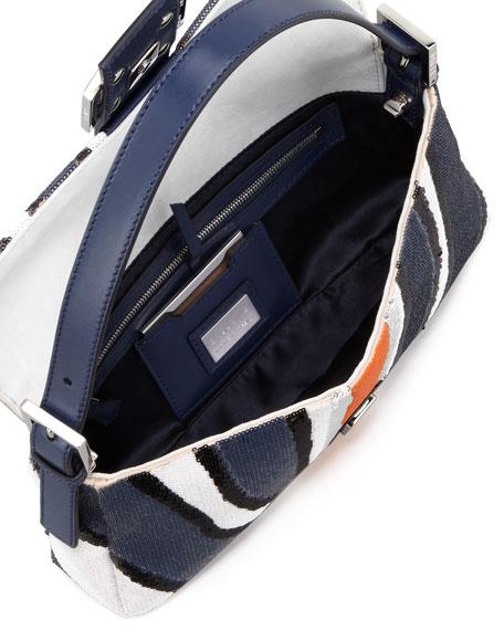 Zebra-Stripe Sequined Baguette, Blue