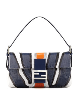 Fendi Zebra-Stripe Sequined Baguette, Blue