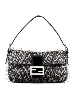 Fendi Beaded Spikes Baguette, Gray/Black