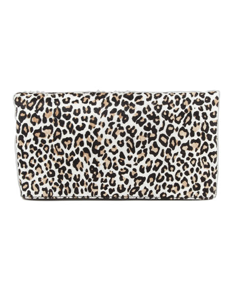 Cheetah Me Calf Hair Fold-Over Clutch Bag, Fawn