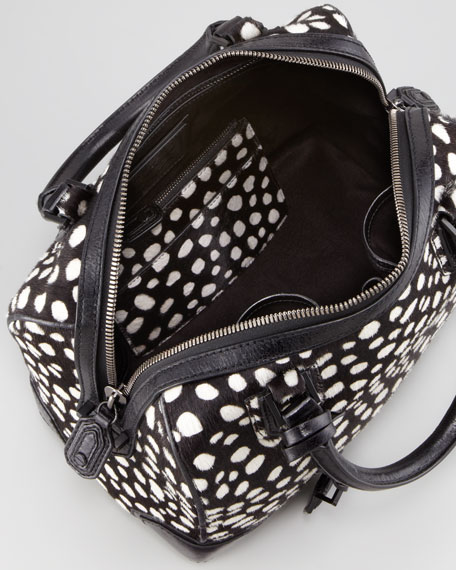Olivia Dotted Calf Hair Bag, Black/White