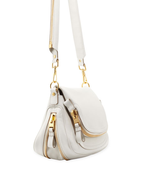 Jennifer Medium Leather Crossbody Bag, White