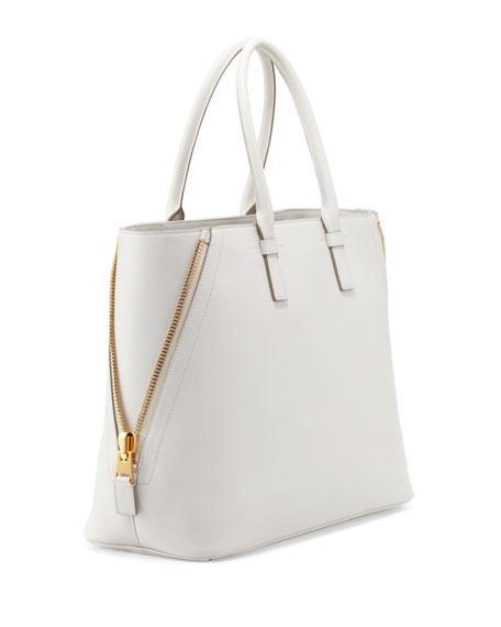 Jennifer Trap Calfskin Tote Bag, White