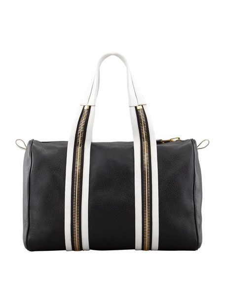 Amber Pebbled Leather Boston Bag