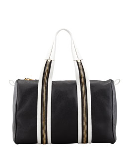 Tom Ford Bicolor Zip-Trim Duffel Bag, Black/White