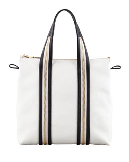 Tom Ford Zipper Leather Tote Bag, White/Black