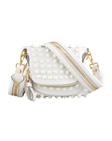 Jennifer Mini Studded Crossbody Bag, White