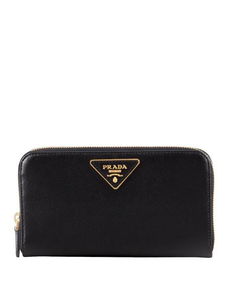 Saffiano Triangle Zip-Around Wallet, Black (Nero)