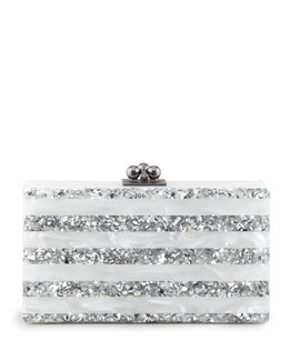 Edie Parker Jean Striped Acrylic Confetti Clutch Bag, White/Silver