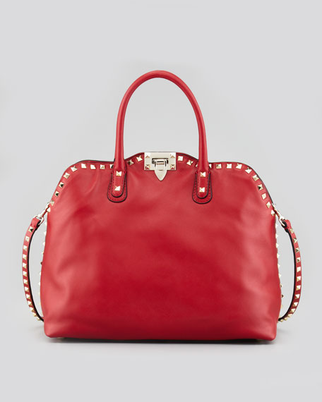 Rockstud Dome Tote Bag, Red