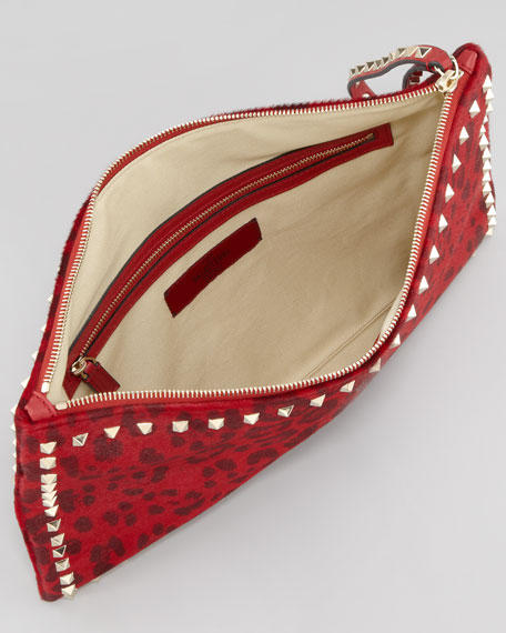 Rockstud Leopard-Print Calf-Hair Zip Clutch Bag, Red