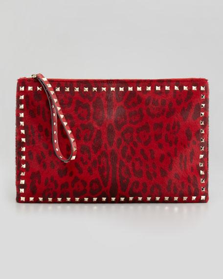 Rockstud Leopard-Print Calf-Hair Zip Clutch Bag, Red