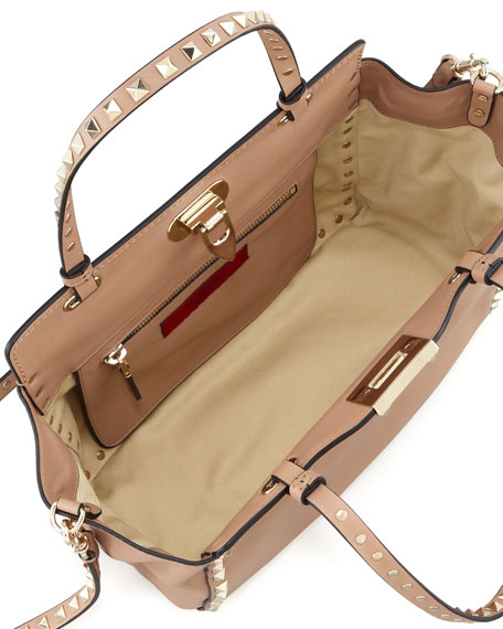 Rockstud Mini Tote Bag, Tan