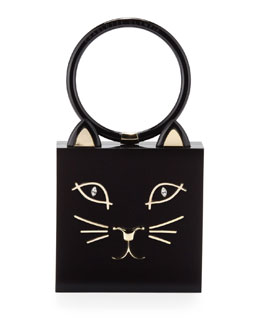 Kitty Square Acrylic Box Clutch, Black