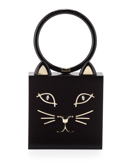 Kitty Square Acrylic Box Clutch, Black