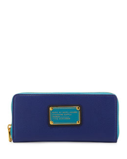 MARC by Marc Jacobs Classic Q Slim Zip Colorblock Wallet, Bright Royal