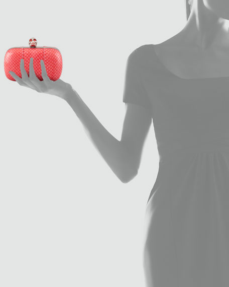 Snakeskin Skull-Clasp Clutch Bag, Geranium Pink