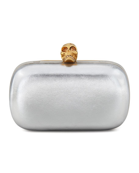 Bicolor Metallic Skull-Clasp Clutch Bag, Gold/Silver