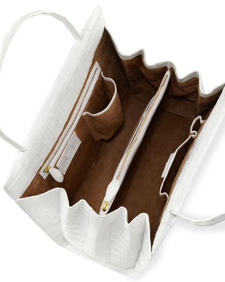Large Crocodile Tote Bag, White
