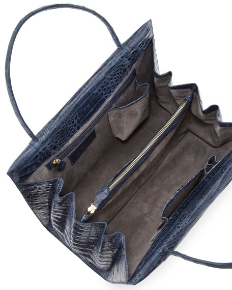Two-Compartment Crocodile Tote Bag, Navy
