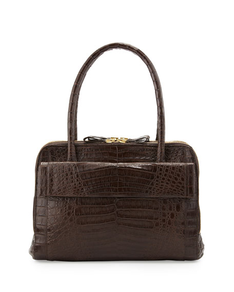 Crocodile Zip Satchel Bag, Brown