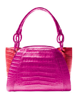 Nancy Gonzalez Medium Two-Tone Crocodile Satchel Bag, Pink/Orange