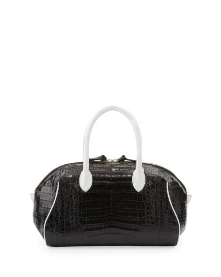 Bicolor Medium Crocodile Satchel Bag, Black/White