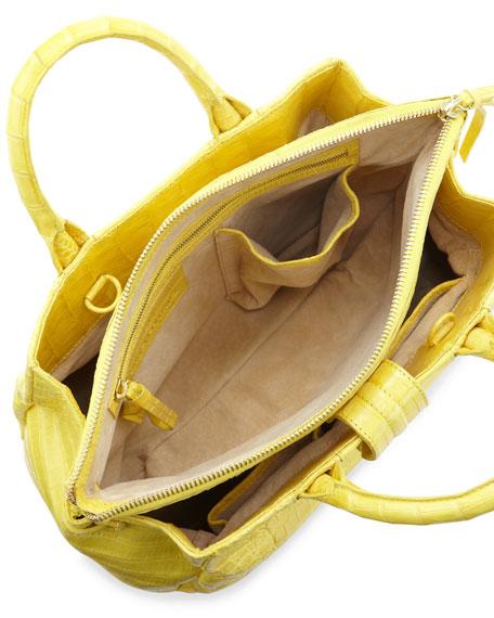 Cristina Crocodile Tote Bag, Yellow