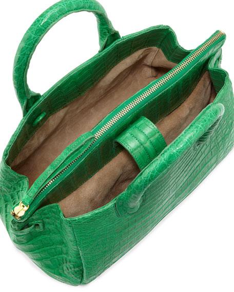 Medium Crocodile Satchel Bag, Green