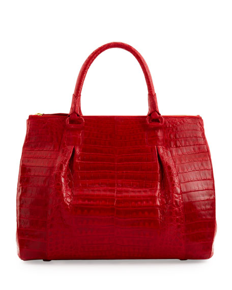 Large Double-Zip Crocodile Satchel Bag, Red