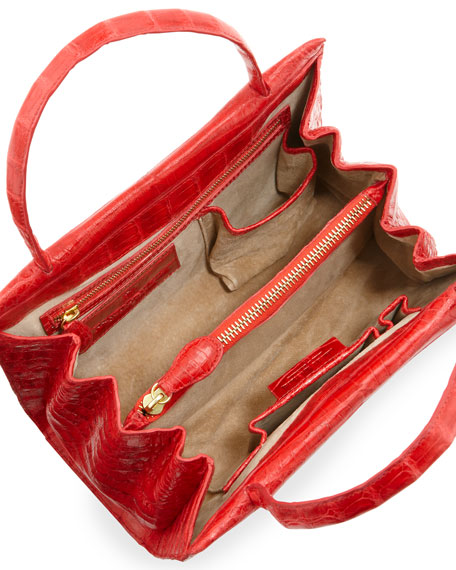 Crocodile Mini Tote Bag, Red