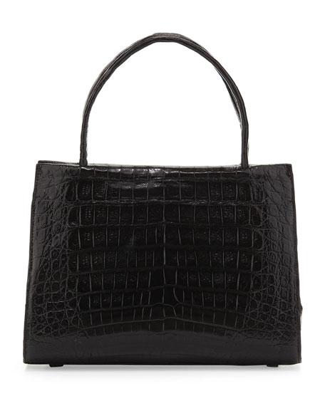 Small Compartmentalized Crocodile Tote Bag, Black