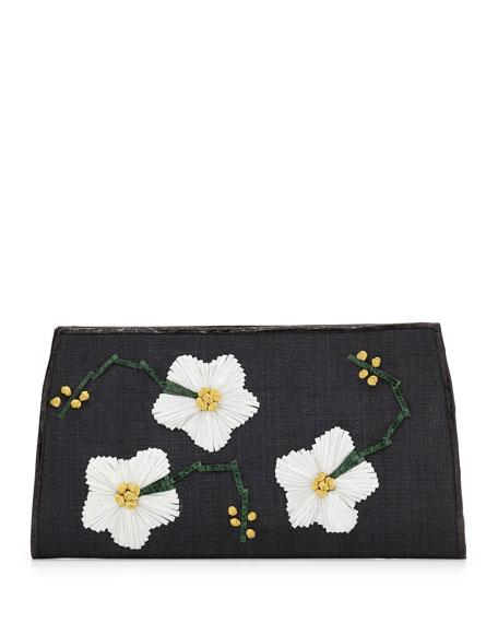 Snap-Top Floral Clutch Bag, Black