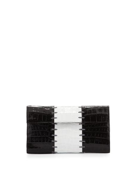 Small Crocodile Colorblock Clutch Bag, Black/White