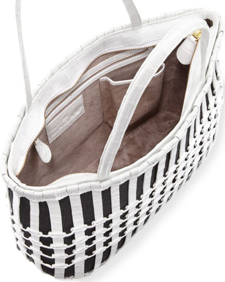 Woven Crocodile Tote Bag, Black/White