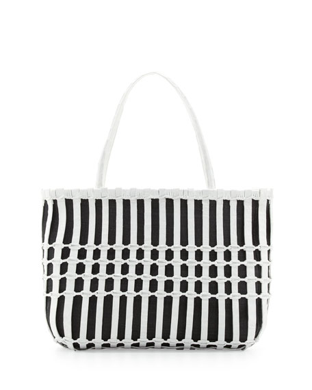 Woven Crocodile Tote Bag, Black/White