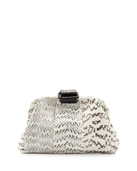 Soft Snake & Crocodile Clutch Bag, White/Black