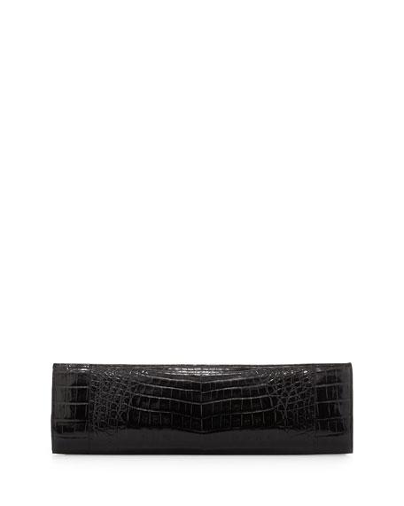 Slim Crocodile Clutch Bag, Black