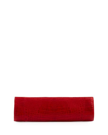 Slim Crocodile Clutch Bag, Red