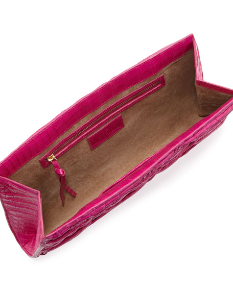Woven Crocodile/Python Clutch Bag, Pink