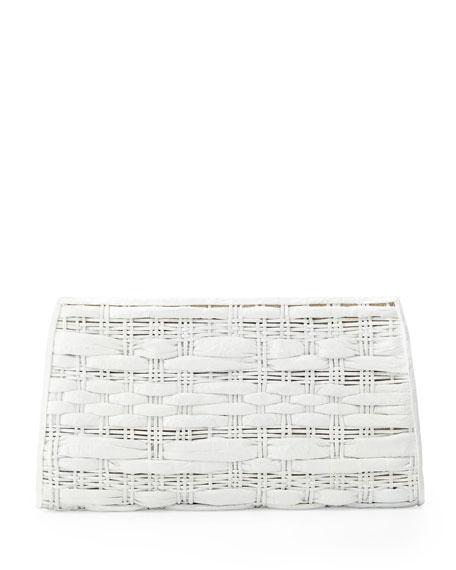 Woven Crocodile/Python Clutch Bag, White