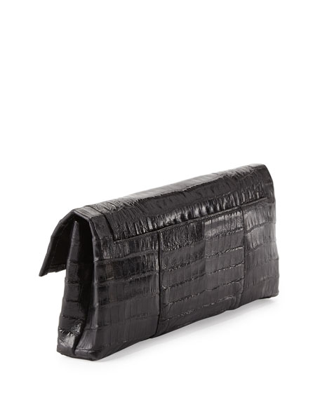 Crocodile Flap Clutch Bag, Black