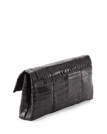 Crocodile Flap Clutch Bag, Black