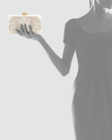 Isabella Laser-Cut Calf Hair Clutch Bag, Pearl
