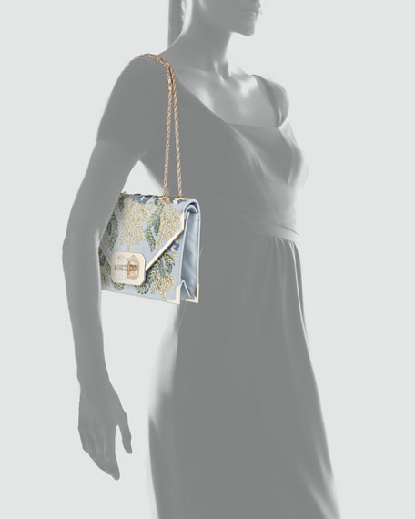 Valentina Floral Embroidered Envelope Clutch Bag, Blue/Multi