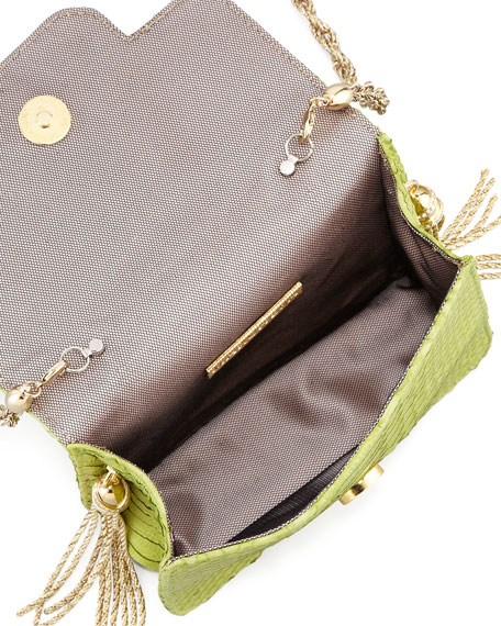 Phoebe Small Python Shoulder Bag, Chartreuse